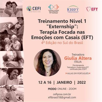 """Treinamento Nível 1: """"Externship"""": TERAPIA FOCADA NAS EMOÇÕES COM CASAIS (EFT)"""
